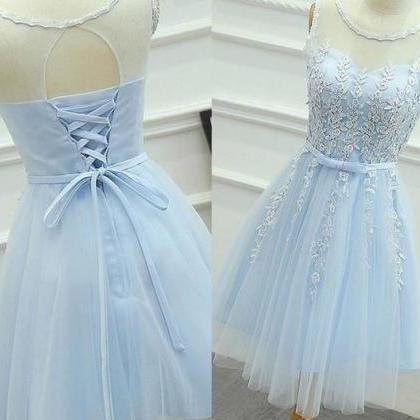 Baby Blue Chiffon Strapless Homehom..