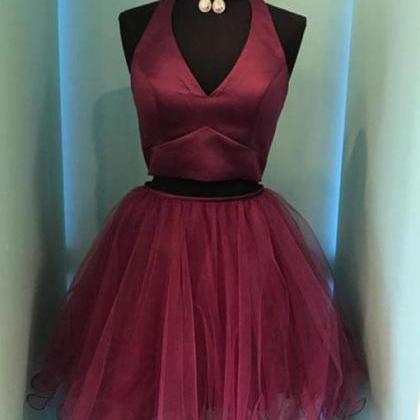 Burgundy V-neck Two Piece Tulle Hom..