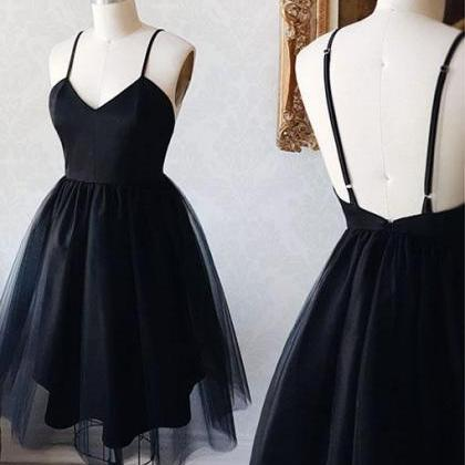 Black V-neck Backless Straps Tulle ..