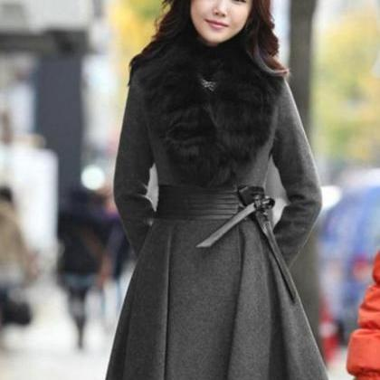 Gray Wool Women Coat Trench Wool Wo..