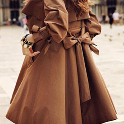 Fashion Style Elegant Ruffle Brown ..