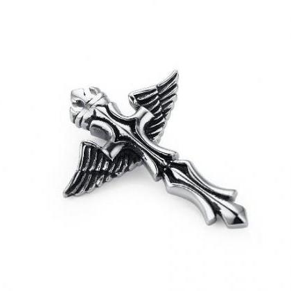 Stainless Steel Crown Angel Wing Cr..