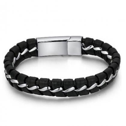 Leather and Stainless Steel Interse..