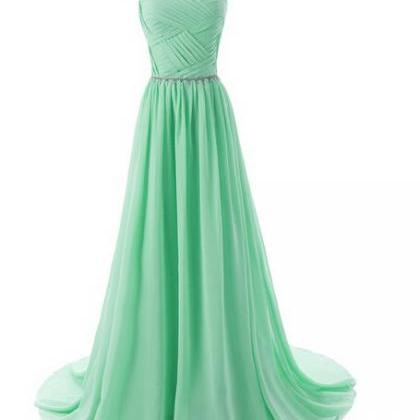 Green Floor-Length A-Line Prom Dres..
