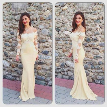 Long Sleeve Prom Dress,Sheath Lace ..