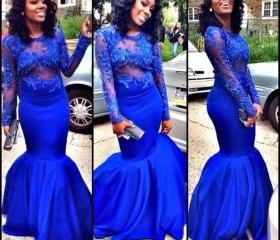 Royal Blue Lace Long..