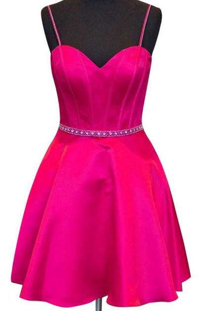 Beading Satin Homecoming Dress,Spaghetti Straps Sweetheart Prom Dress