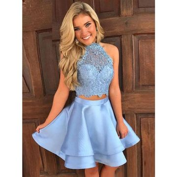 9a773305cc2 Blue Halter Sleeveless Two Piece Short Homecoming Dresses on Luulla