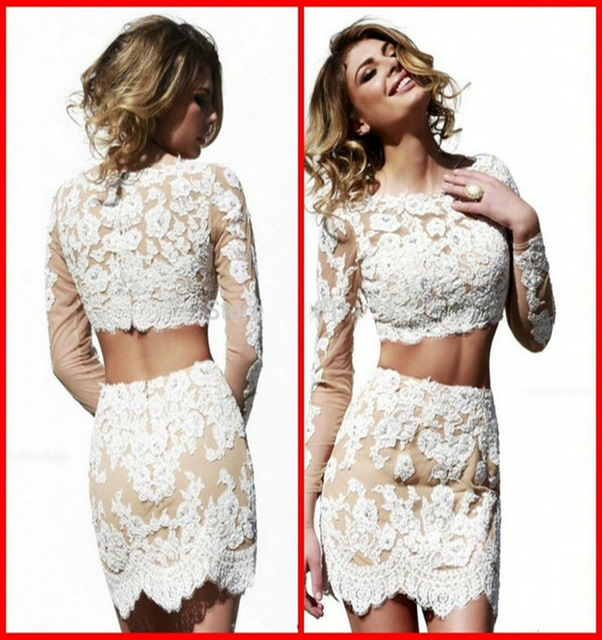 e417935281e3fe White Lace Long Sleeve Two Piece Short Homecoming Dresses on Luulla