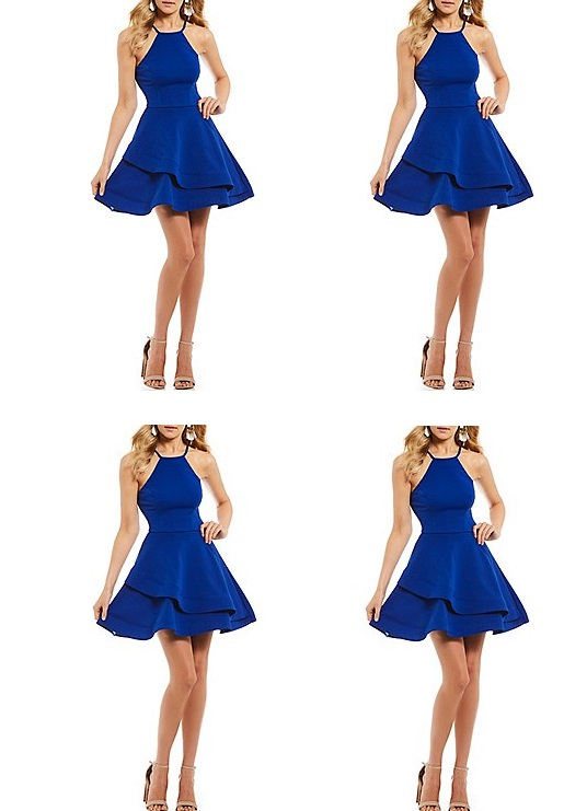 Royal Blue Straps Short Stain Homecoming Dresses