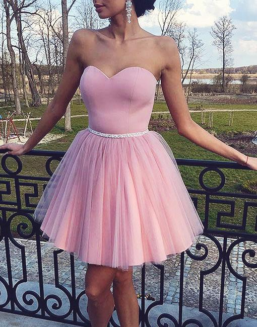 Pearl Pink cute Strapless Tulle Beading Homecoming Dresses