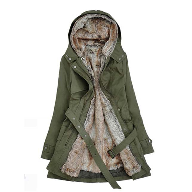 Womens Winter Coats Faux Fur Lining Parka With Fur Hood In Green on ... f877da12f1