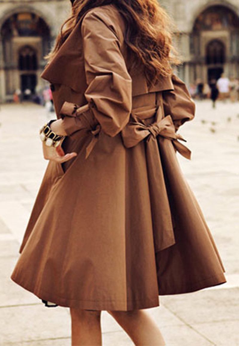 Fashion Style Elegant Ruffle Brown Women Coat