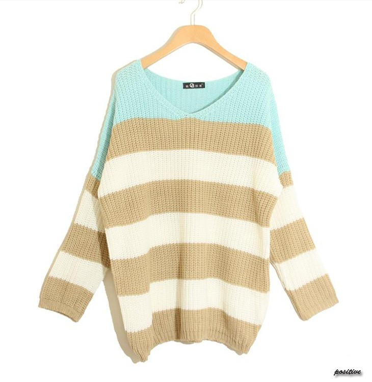 Fashion Women's Color Straps Loose Long Sleeve Sweater