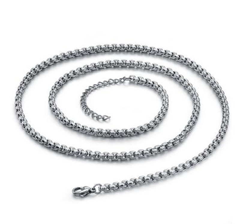 Stainless Steel Men's 3.5mm Silver Tone Round Link Chain Necklace