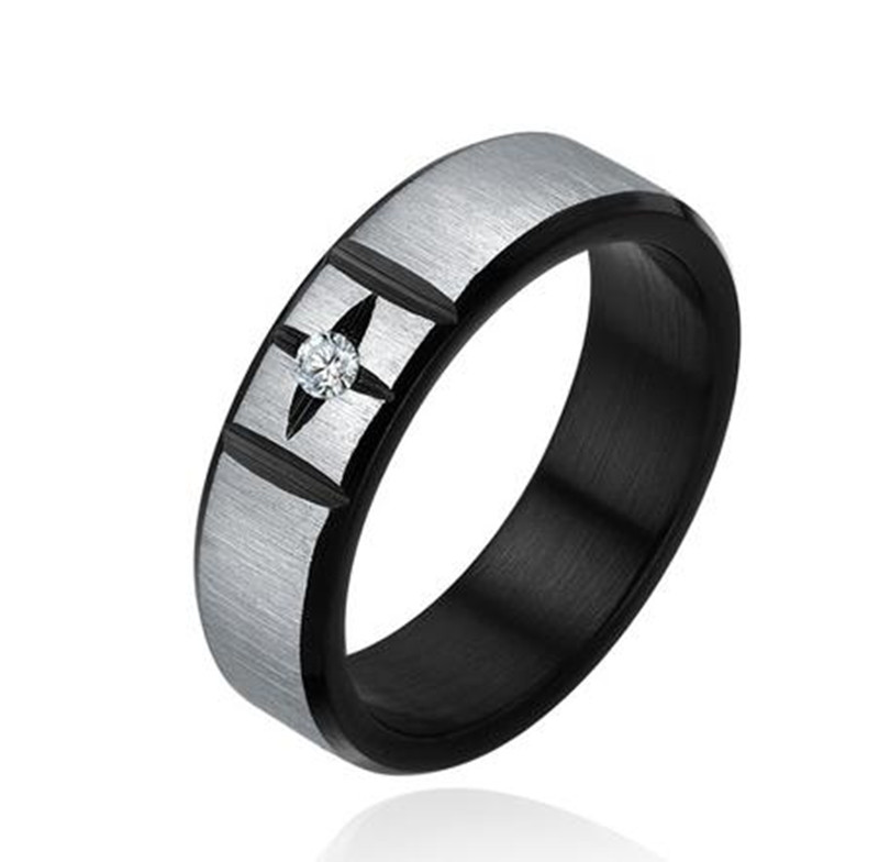 Stainless Steel Brushed Finish Two-tone Ring