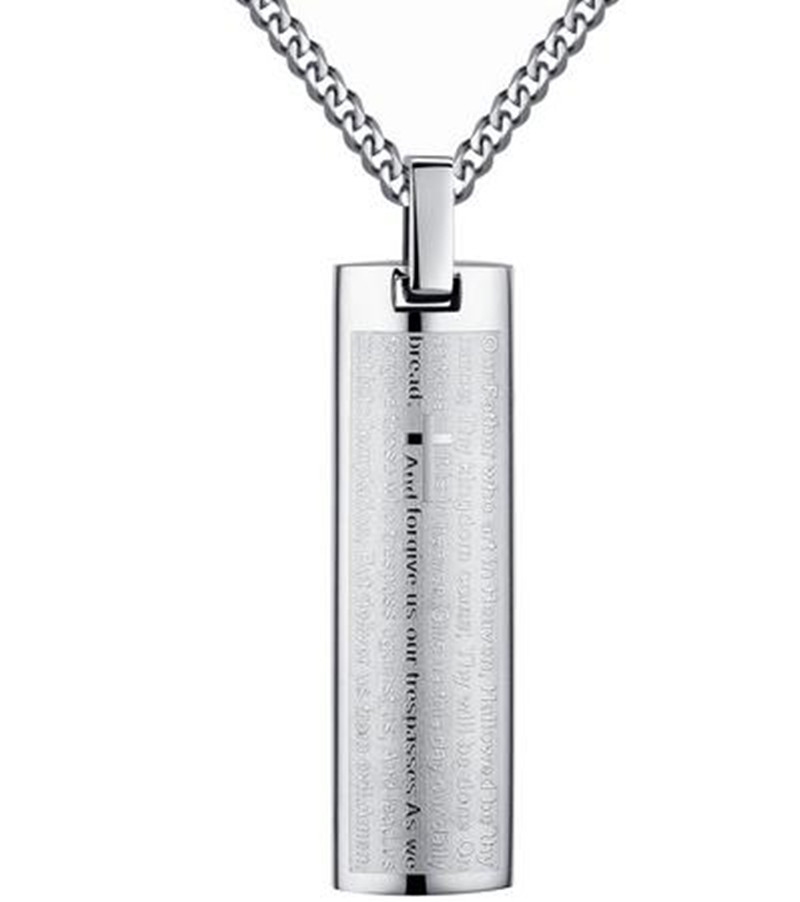Stainless Steel Men's Lord's Prayer in English and Cross Pendant Necklace