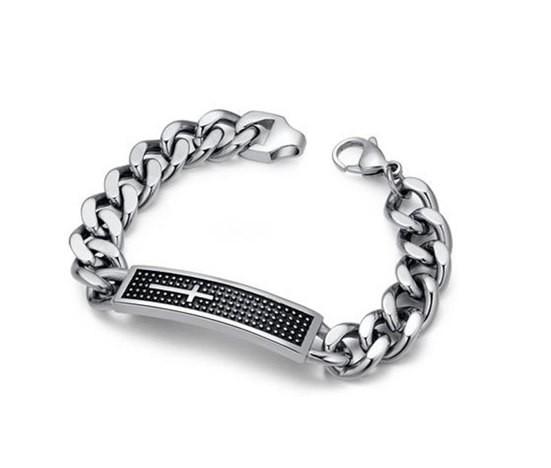 Stainless Steel Men's Cross Curb Chain Link Bracelet