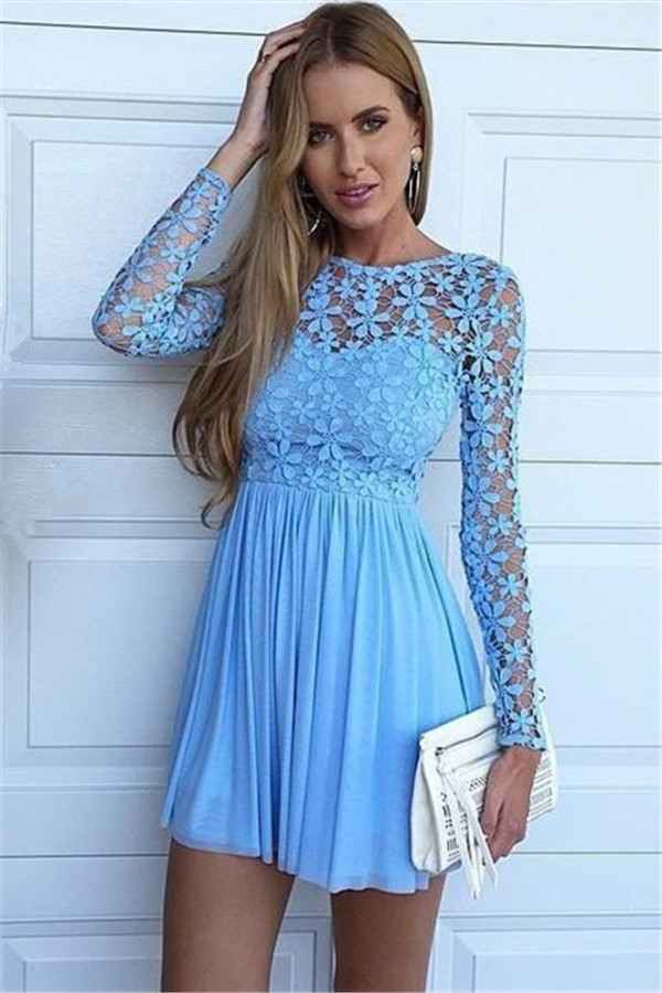 c5eb998a94d3 Blue A-Line Chiffon Short Homecoming Dresses,Long Sleeve Lace Mini Summer  Homecoming Dresses