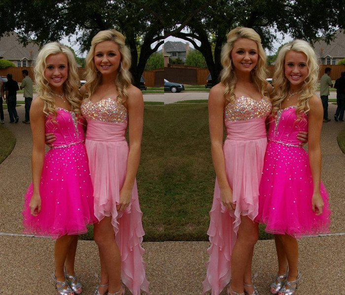 High Low Sequin Beaded Homecoming Dress,Pink Homecoming Dresses,Party Dress
