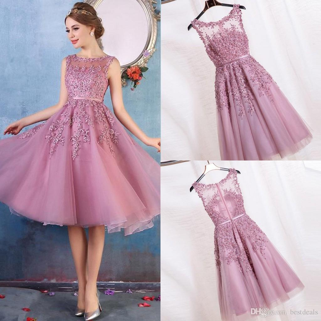 fdc8ba3f60c4d NeckLace Line Homecoming ,Knee Length Homecoming Dresses, Applique Prom  Dress