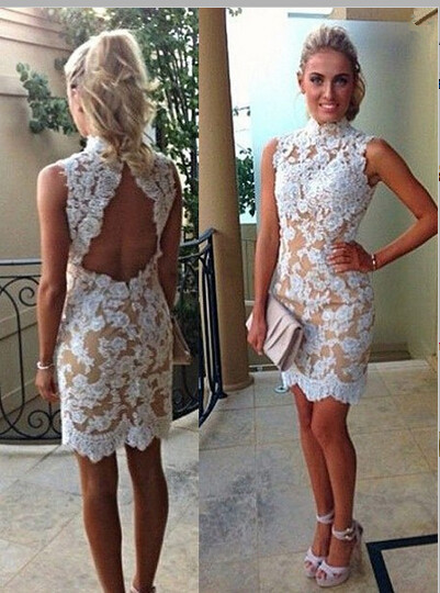 69a3bfb8086 White Lace Sheath Homecoming Dress
