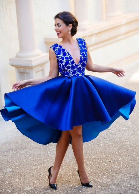 save up to 80% choose official limited guantity Blue Deep V Neck Lace Satin Homecoming Dress,Hi-lo Knee Length Homecoming  Dresses,Prom Dress