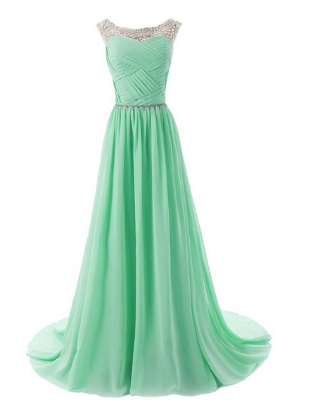 Green Floor-Length A-Line Prom Dress,Simple Chiffon Beading Prom Dresses