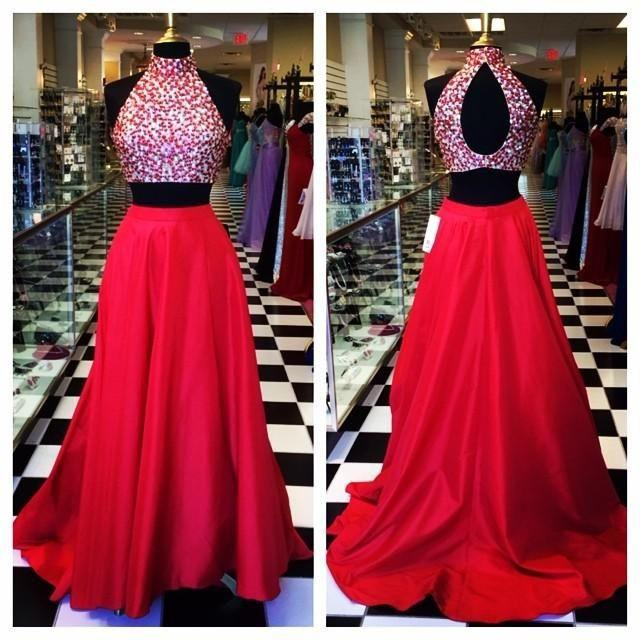 ae1cfe5ded3 High Neck Two Piece Prom Dress
