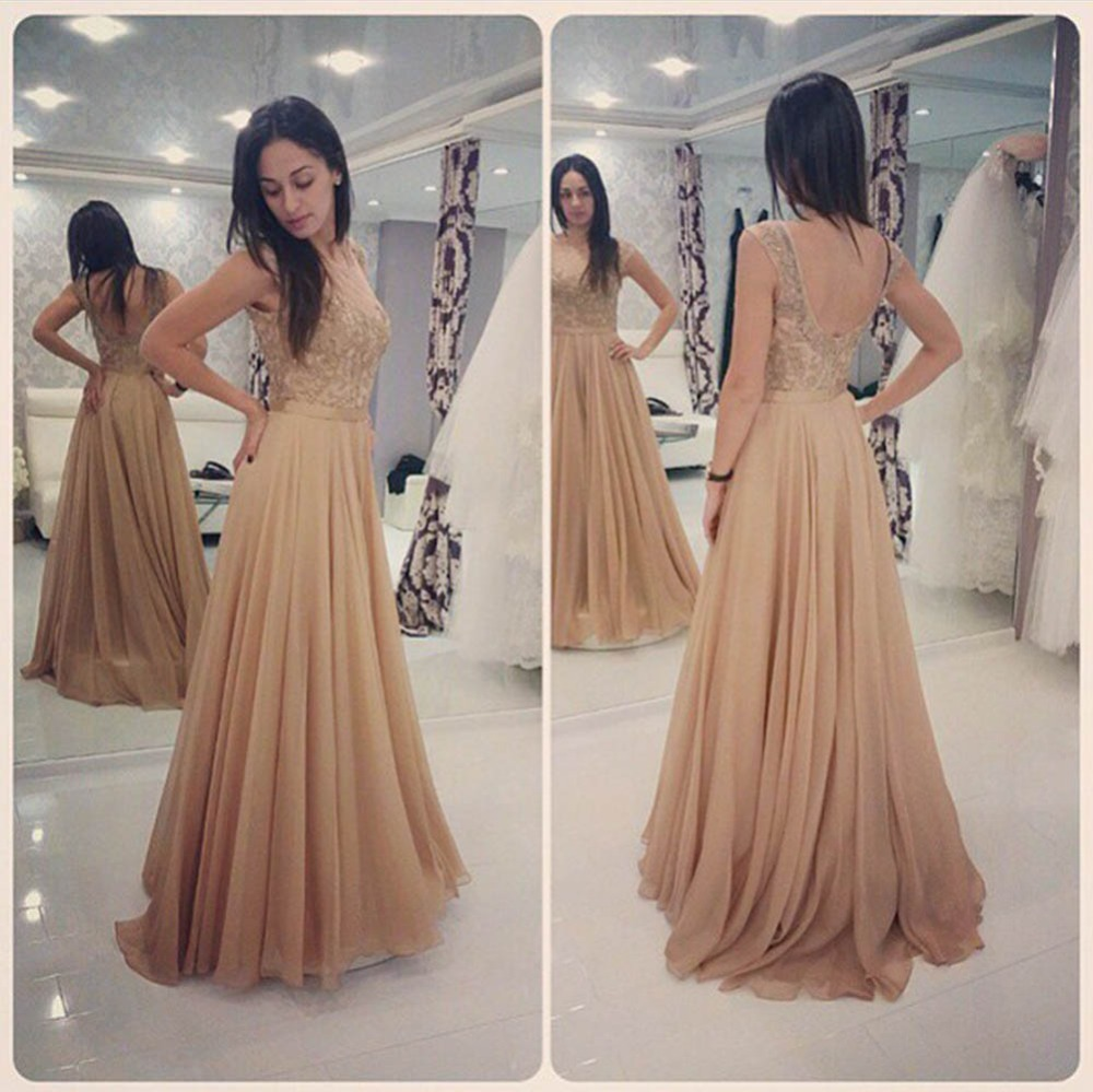 Long Champagne Lace Prom Dresses Beaded Chiffon Liques Open Back