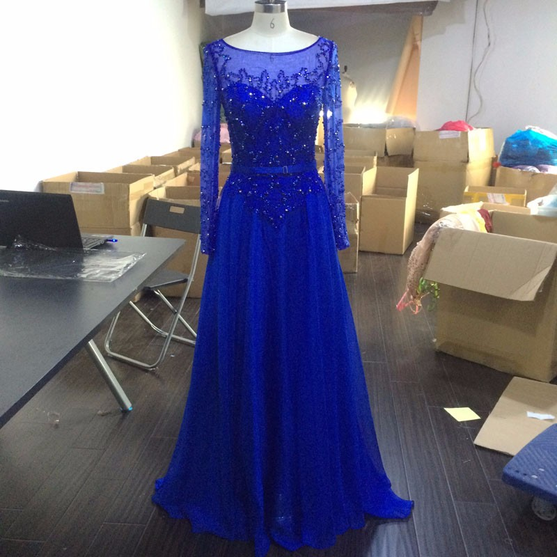 Long Sheer Full Sleeves Dress With Beading,Navy Blue Long Sleeves Chiffon Prom Dresses,Prom Dress