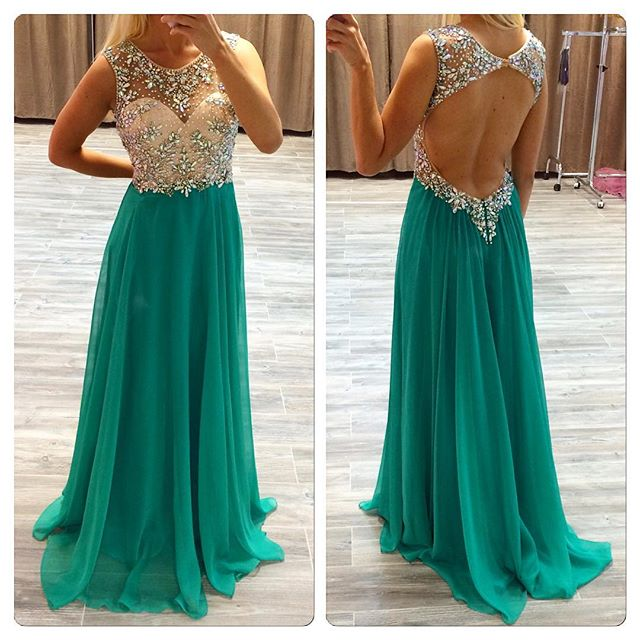 Sleevless Backless Prom Dress, A-Line Prom Dresses,Evening Dress