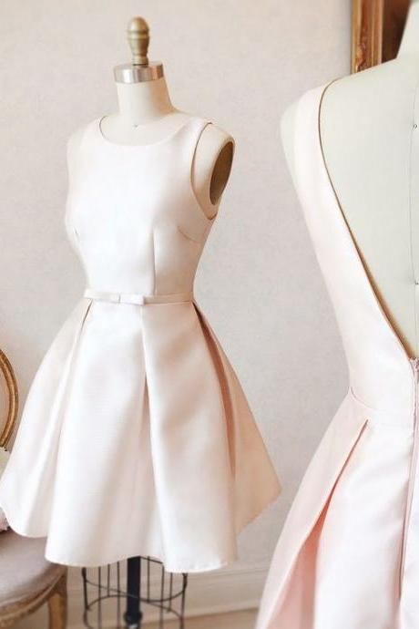Creamy White Satin Strapless Homecoming Dress, Simple Open Back Homecoming Dress