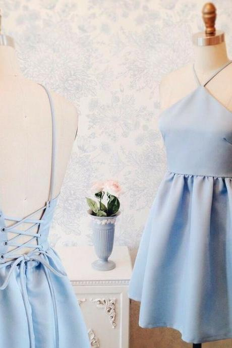 Baby Blue Halter Satin Homecoming Dress, Strapless Sexy Homecoming Dress