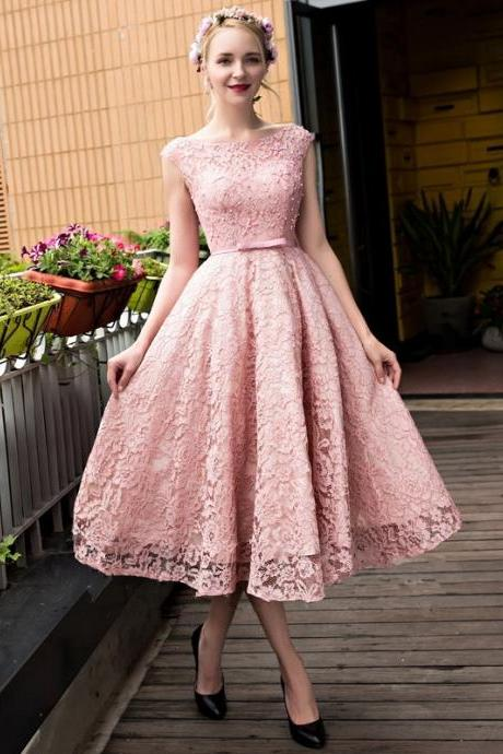 Pink Lace Beaded Bowknot Homecoming Dress, Sweet Open Back Long Homecoming Dress