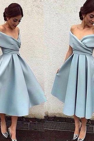 Baby Blue Satin Homecoming Dress, Off Shoulder Sexy Homecoming Dress