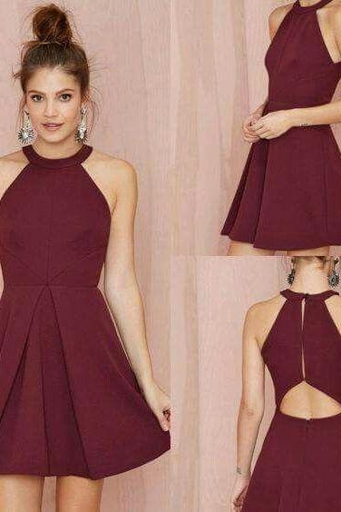 Burgundy Halter Simple Sexy Homecoming Dress