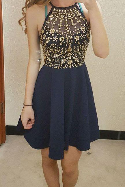 Navy Blue Crystal Homecoming Dresses, Halter Strapless Homecoming Dress