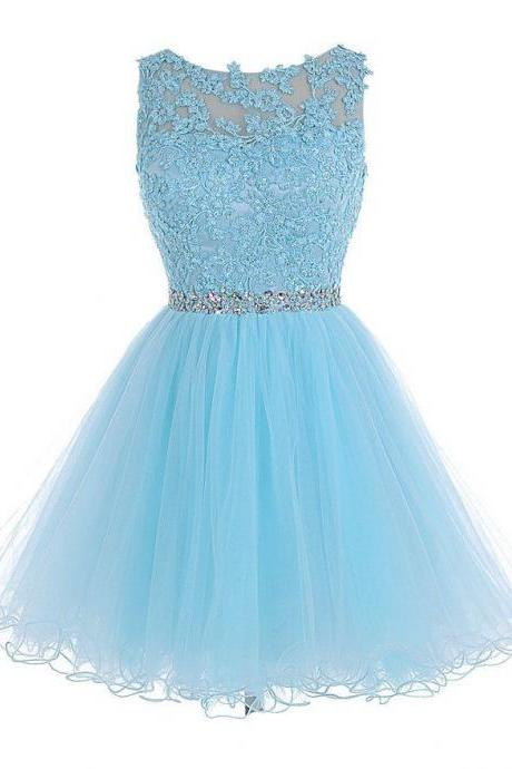 Baby Blue Chiffon Homecoming Dress, Appliques Beadings Homecoming Dress