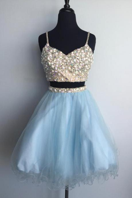 Baby BlueTwo Pieces Homecoming Dress, Beadings Cute Homecoming Dress