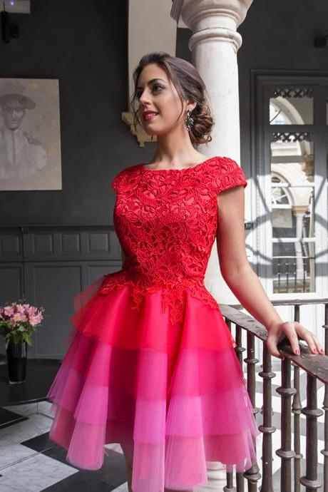 2017Multi Colors Red Lace Homecoming Dresses,Capped Sleeves Short Cocktail Dress