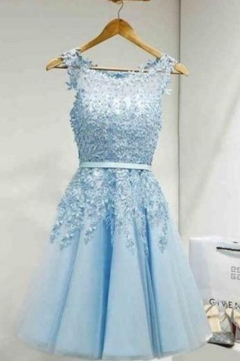 Sky Blue Appliques Homecoming Dress,Elegant Scoop Neck Homecoming Dress