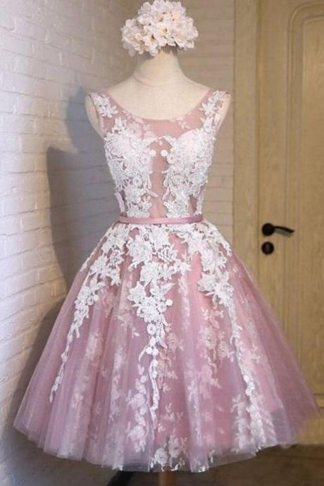 Pink Appliques Tulle Homecoming Dresses