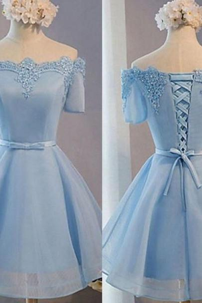 Baby Blue Appliques Homecoming Dresses,Off Shoulder Short Homecoming Dresses
