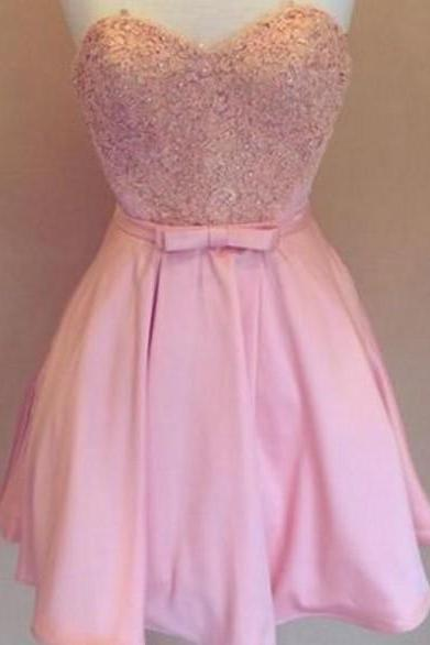 Pink Strapless Sweetheart Lace Appliqués Short Homecoming Dress, Party Dress