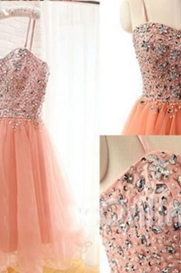 Sweet Orange Tulle Crytal Homecoming Dress