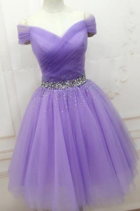 Purple Tulle Off-The-Shoulder Plunge V Short Homecoming Dress Featuring Beaded Embellished Belt