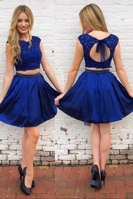 Royal Blue Homecoming Dress,Open Back Two Piece Homecoming Dress