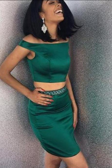 Dark Green Two Piece Homecoming Dress,Off Shoulder Homecoming Dress