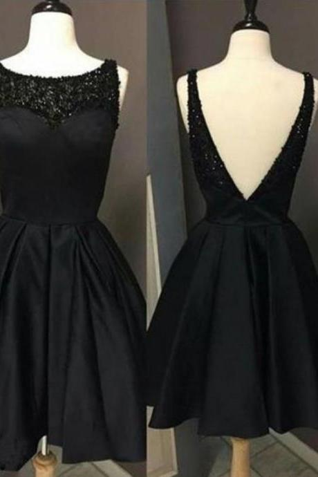 Black Beaded Open Back Homecoming Dress